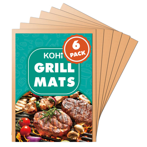 Reusable Copper Grill Mats Non Stick for Outdoor Grilling BBQ, Baking Pack of 6