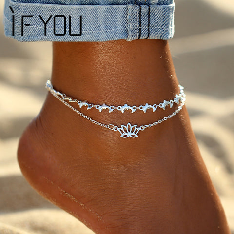Silver Lotus Anklet