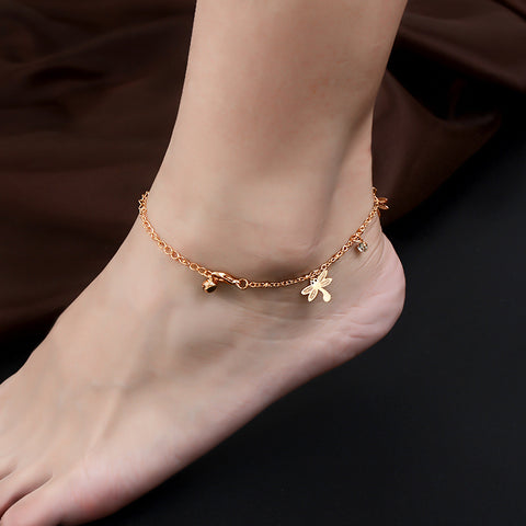 Golden Dragonfly Anklet
