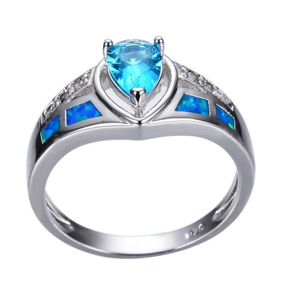 Blue Heart Ocean Ring