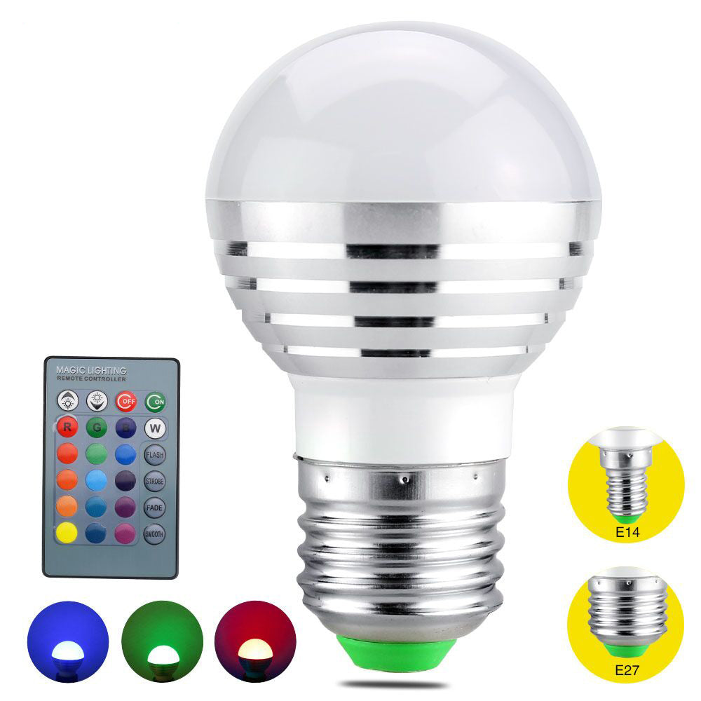 Rgb led lamp with remote control geardiggers longevity of these bulbs are so great that they will save you money use them with every standard e27 e26 screw base and 85 265v input and enjoy their parisarafo Image collections