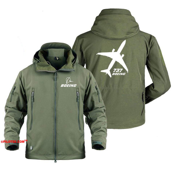 AIRPLANE LOVER Military Fleece Gray / S Boeing 737 Angle View