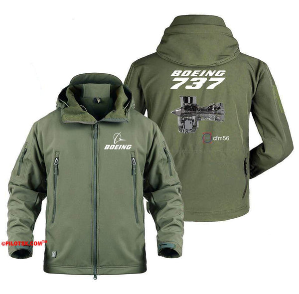 AIRPLANE LOVER Military Fleece Gray / S Boeing 737 Engine