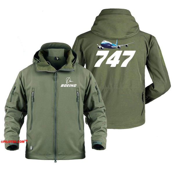 AIRPLANE LOVER Military Fleece Gray / S Boeing 747 Flying