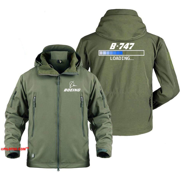 AIRPLANE LOVER Military Fleece Gray / S Boeing 747 Loading