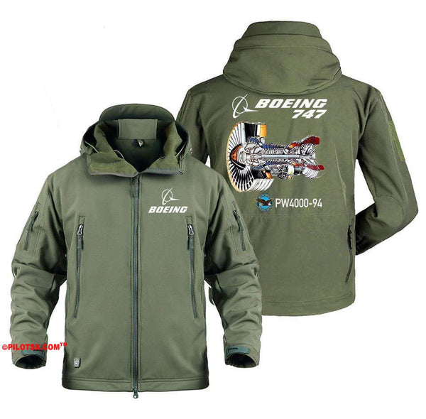 AIRPLANE LOVER Military Fleece Gray / S Boeing 747-PW4000-94