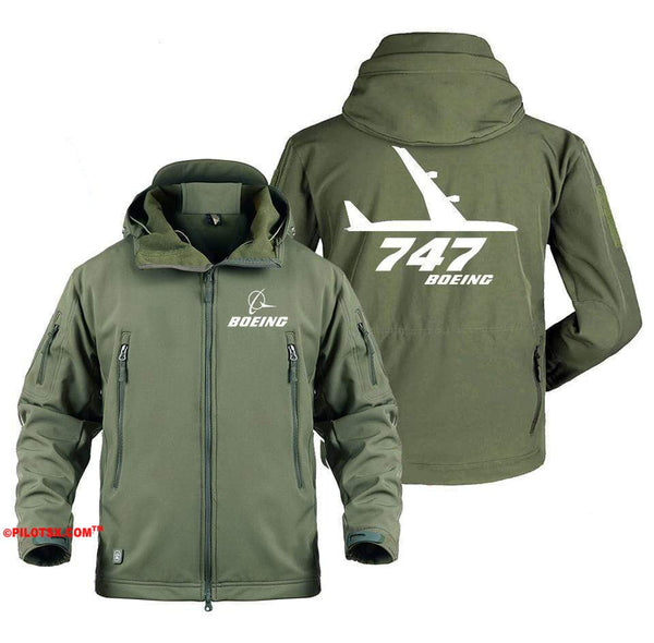AIRPLANE LOVER Military Fleece Gray / S Boeing 747 Side Views