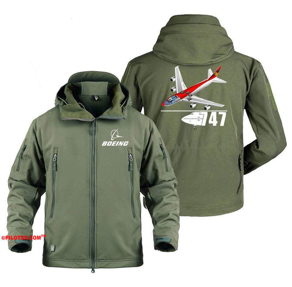 AIRPLANE LOVER Military Fleece Gray / S Boeing 747 With Aircraft