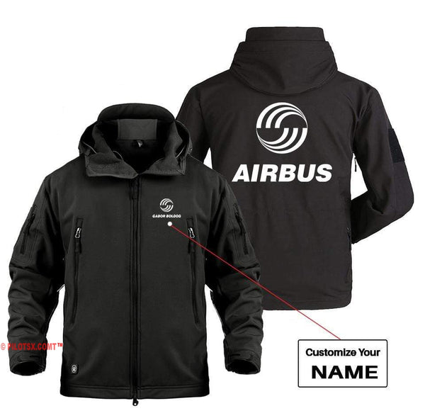 AIRPLANE LOVER Military Fleece Black / S AIRBUS LOGO CUSTOM NAME DESIGNED MILITARY FLEECE