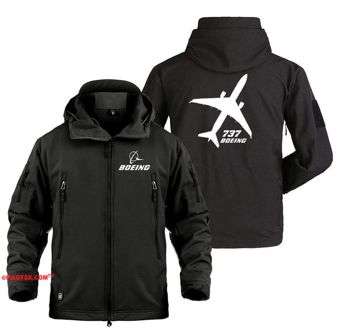 AIRPLANE LOVER Military Fleece Black / S Boeing 737 Angle View