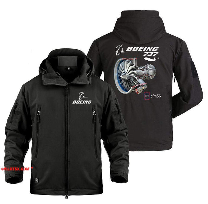 AIRPLANE LOVER Military Fleece Black / S Boeing 737-CFM56