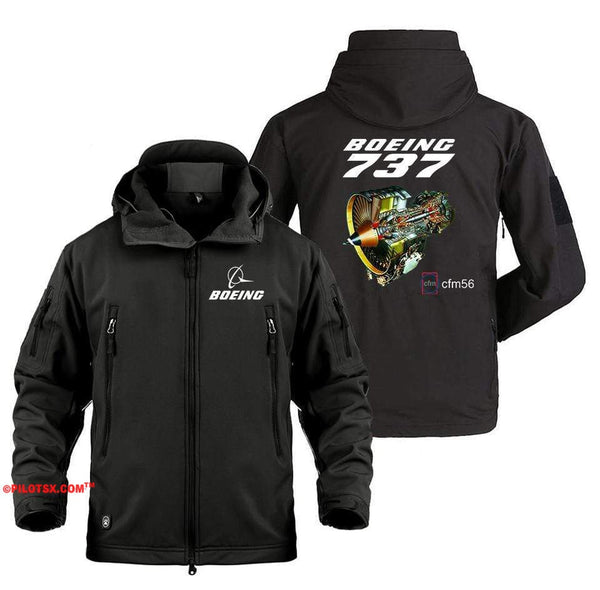 AIRPLANE LOVER Military Fleece Black / S Boeing 737 Engine