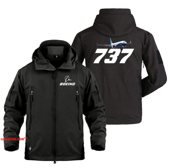 AIRPLANE LOVER Military Fleece Black / S Boeing 737 Flying