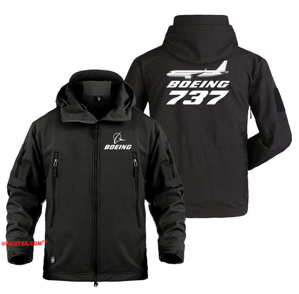 AIRPLANE LOVER Military Fleece Black / S Boeing 737 With Aircraft