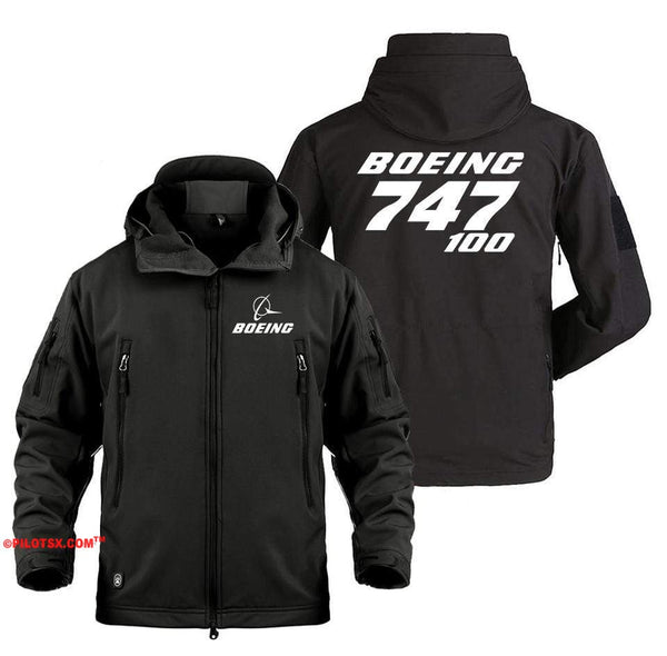 AIRPLANE LOVER Military Fleece Black / S Boeing 747-100