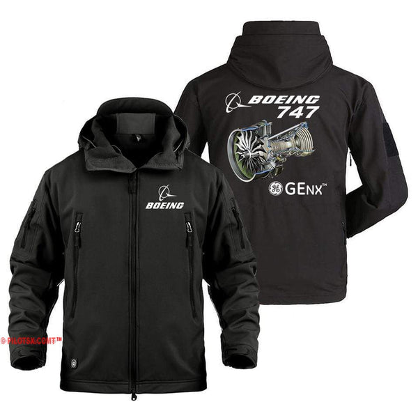 AIRPLANE LOVER Military Fleece Black / S Boeing 747 GENX