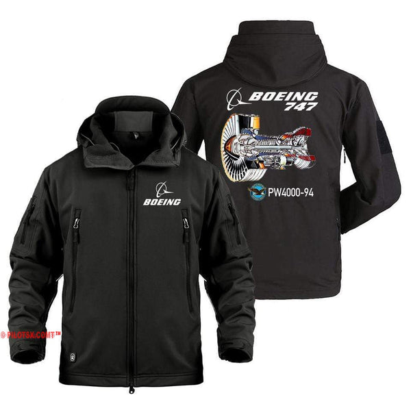 AIRPLANE LOVER Military Fleece Black / S Boeing 747-PW4000-94