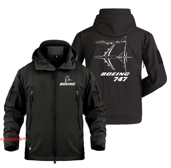 AIRPLANE LOVER Military Fleece Black / S Boeing 747 Real views