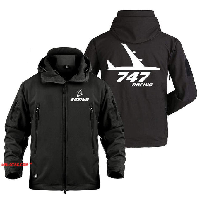AIRPLANE LOVER Military Fleece Black / S Boeing 747 Side Views