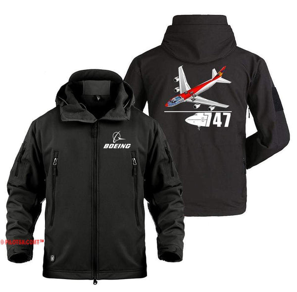 AIRPLANE LOVER Military Fleece Black / S Boeing 747 With Aircraft