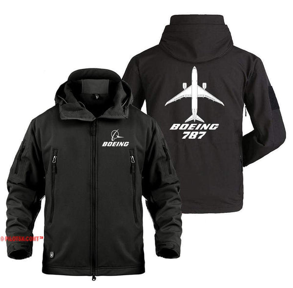 AIRPLANE LOVER Military Fleece Black / S Boeing 787 With aircraft