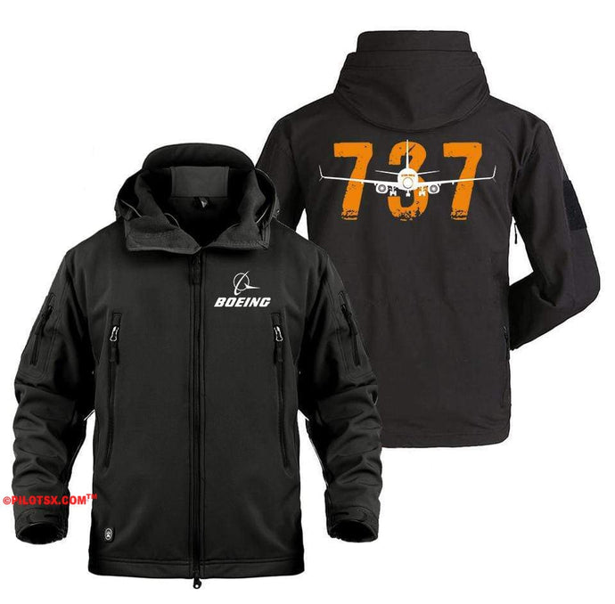 AIRPLANE LOVER Military Fleece Black / S Colorful Boeing 737