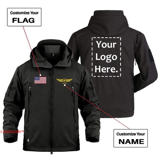 AIRPLANE LOVER Military Fleece Black / S CUSTOM FLAG, LOGO & NAME WITH BADGE DESIGNED MILITARY FLEECE