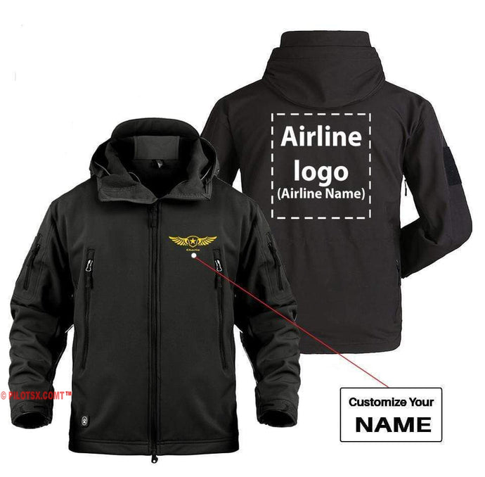AIRPLANE LOVER Military Fleece Black / S CUSTOM NAME & AIRLINE LOGO DESIGNED MILITARY FLEECE