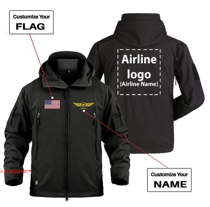 AIRPLANE LOVER Military Fleece Black / S CUSTOM NAME, FLAG & AIRLINE LOGO DESIGNED MILITARY FLEECE