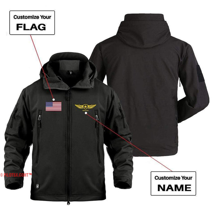AIRPLANE LOVER Military Fleece Black / S CUSTOM NAME & FLAG DESIGNED MILITARY FLEECE