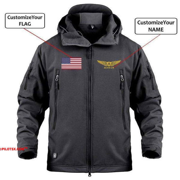 AIRPLANE LOVER Military Fleece Khaki / S CUSTOM NAME & FLAG - WARM TACTICAL II MILITARY FLEECE