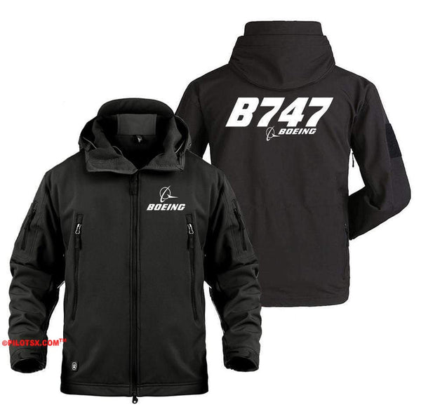 AIRPLANE LOVER Military Fleece Copy of Boeing 747 Side Views