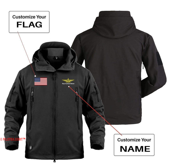 AIRPLANE LOVER Military Fleece Dark Gray / S CUSTOM FLAG & NAME WITH BADGE DESIGNED