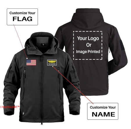 AIRPLANE LOVER Military Fleece Dark Gray / S CUSTOM YOUR NAME & FLAG & LOGO