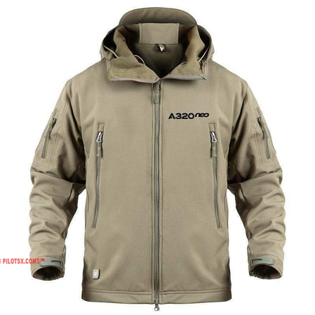 AIRPLANE LOVER Military Fleece Khaki / S Airbus A320 neo