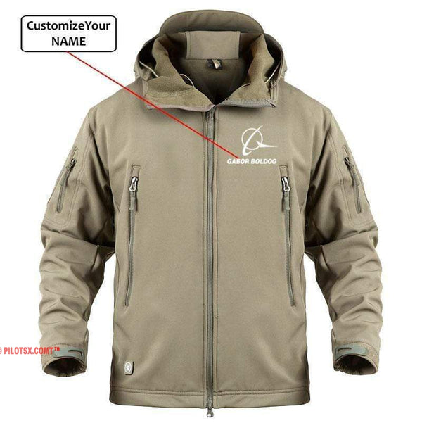 AIRPLANE LOVER Military Fleece Khaki / S CUSTOM NAME BOIENG LOGO - WARM TACTICAL II MILITARY FLEECE