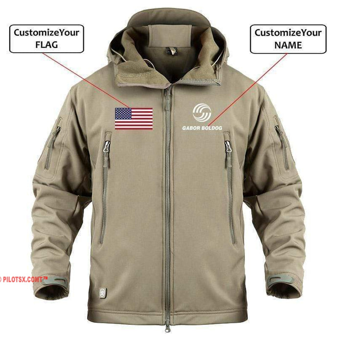 AIRPLANE LOVER Military Fleece Khaki / S CUSTOM NAME & FLAG AIRBUS LOGO - WARM TACTICAL II MILITARY FLEECE