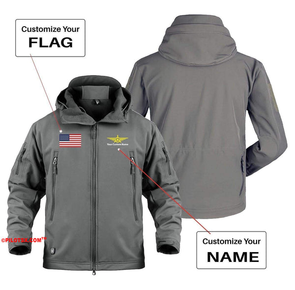 AIRPLANE LOVER Military Fleece Khaki / S CUSTOM FLAG & NAME WITH BADGE DESIGNED