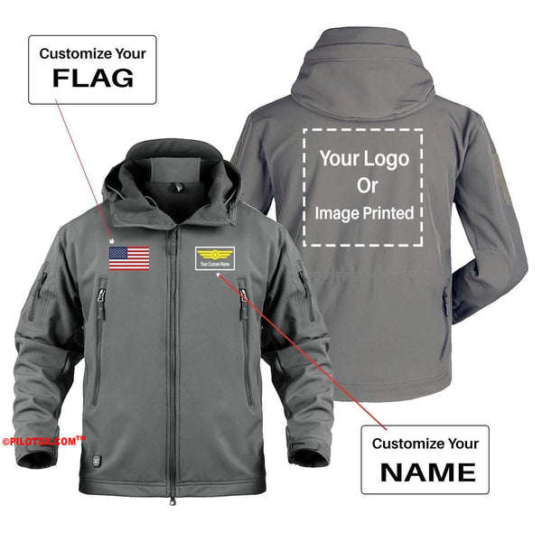 AIRPLANE LOVER Military Fleece Khaki / S CUSTOM YOUR NAME & FLAG & LOGO