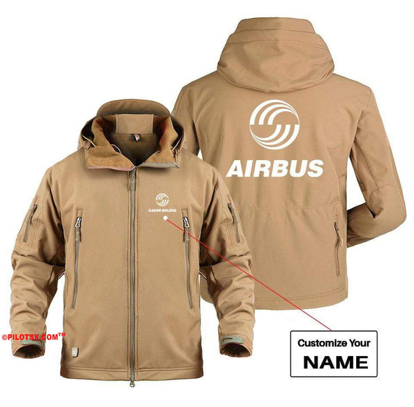 AIRPLANE LOVER Military Fleece Gray / S AIRBUS LOGO CUSTOM NAME DESIGNED MILITARY FLEECE