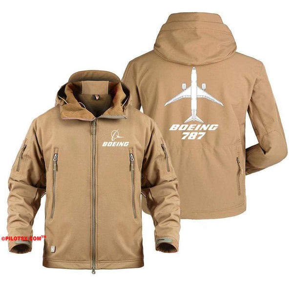 AIRPLANE LOVER Military Fleece Army Green / S Boeing 787 With aircraft