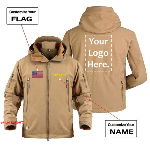 AIRPLANE LOVER Military Fleece Gray / S CUSTOM FLAG, LOGO & NAME WITH BADGE DESIGNED MILITARY FLEECE
