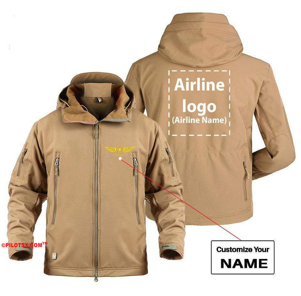 AIRPLANE LOVER Military Fleece Gray / S CUSTOM NAME & AIRLINE LOGO DESIGNED MILITARY FLEECE