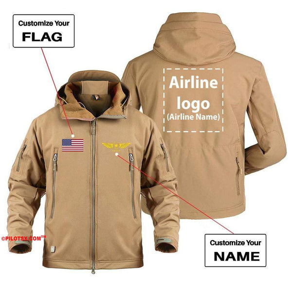 AIRPLANE LOVER Military Fleece Gray / S CUSTOM NAME, FLAG & AIRLINE LOGO DESIGNED MILITARY FLEECE