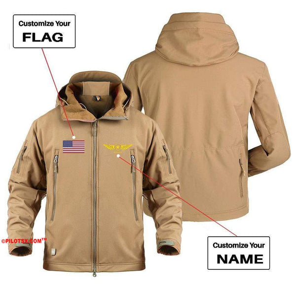 AIRPLANE LOVER Military Fleece Gray / S CUSTOM NAME & FLAG DESIGNED MILITARY FLEECE