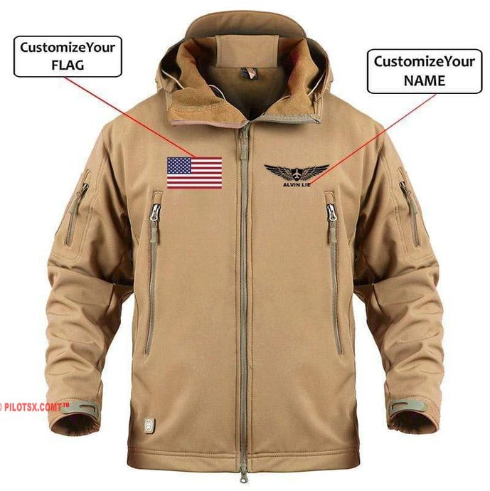 AIRPLANE LOVER Military Fleece Sand / S CUSTOM NAME & FLAG - WARM TACTICAL II MILITARY FLEECE