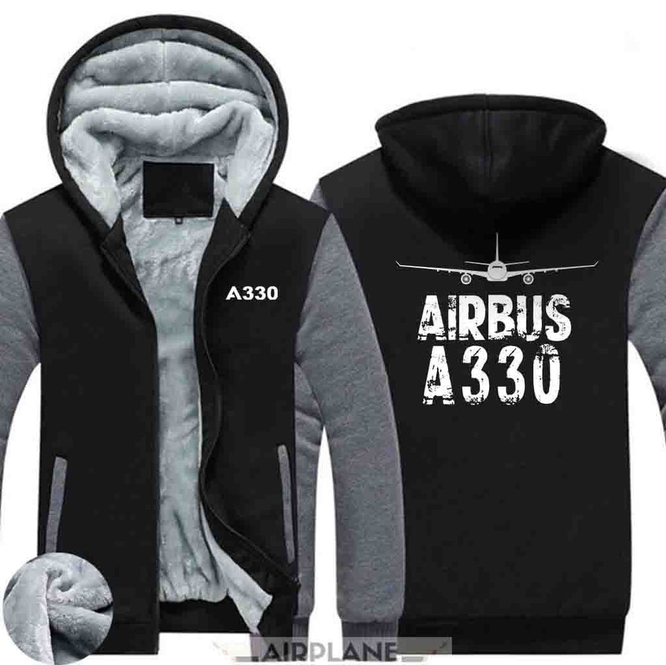 AIRZT HOODIES Black Gray / S Airbus A330 Zipper Sweaters