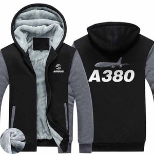 AIRZT HOODIES Black Gray / S Airbus A380 Zipper Sweaters