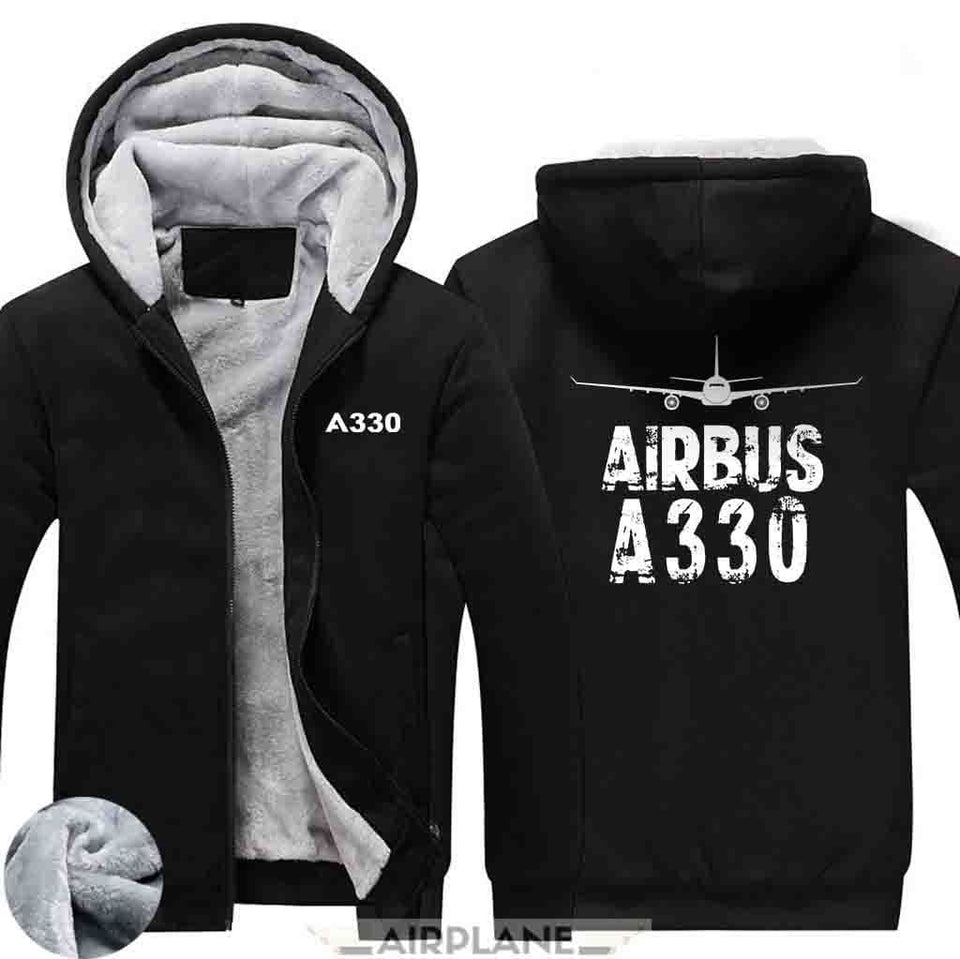 AIRZT HOODIES Black / S Airbus A330 Zipper Sweaters