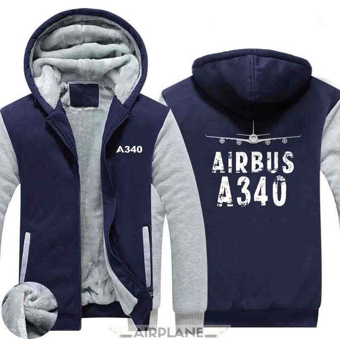 AIRZT HOODIES Blue / S Airbus A340 Zipper Sweaters